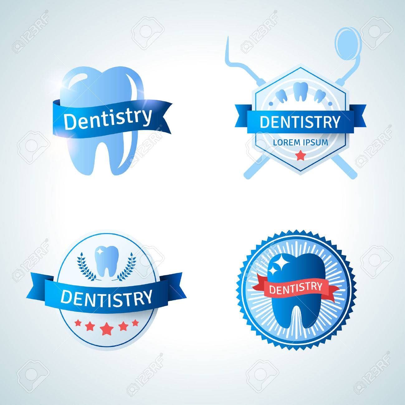 Dental Emblem Collection For Dentistry And Orthodontics. Vector ...
