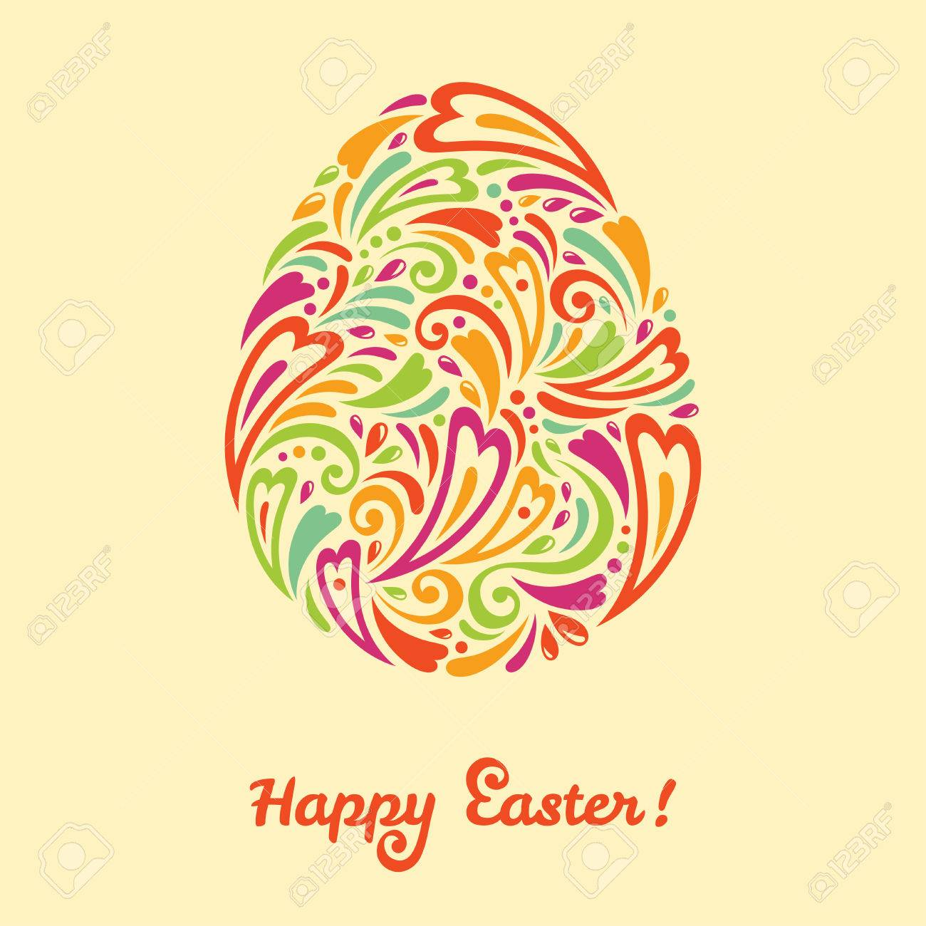 easter egg in doodle minimalism stylet easter template design