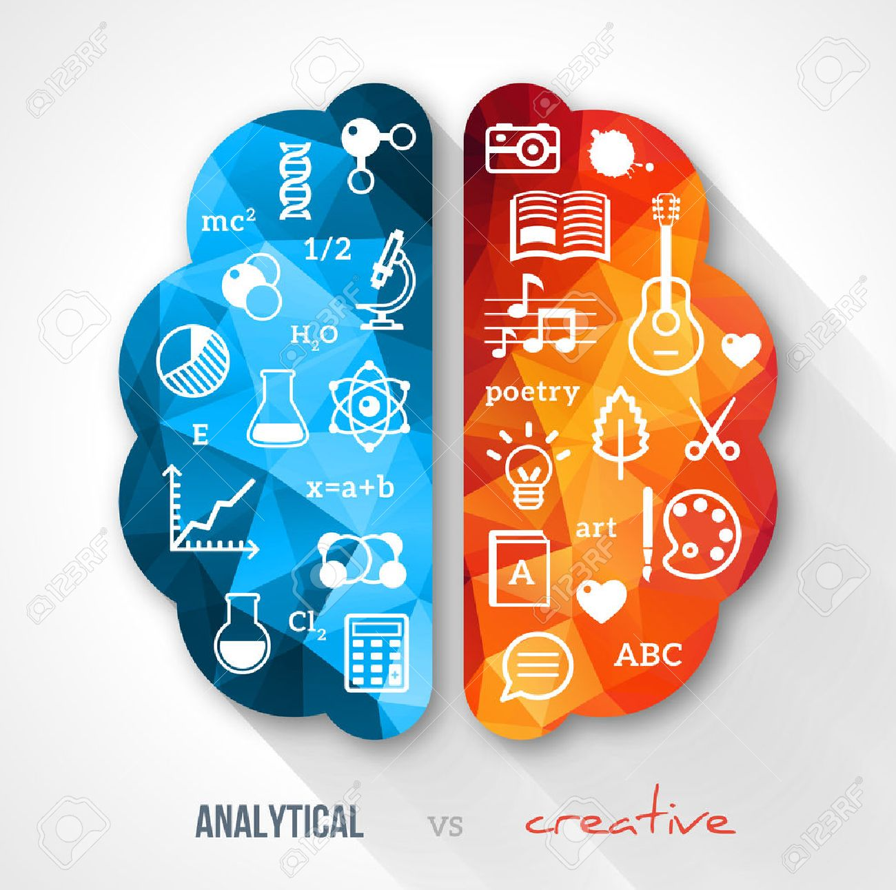 Vector concept. Sciences and arts. Back to school icons. Left and right brain functions. - 32124333