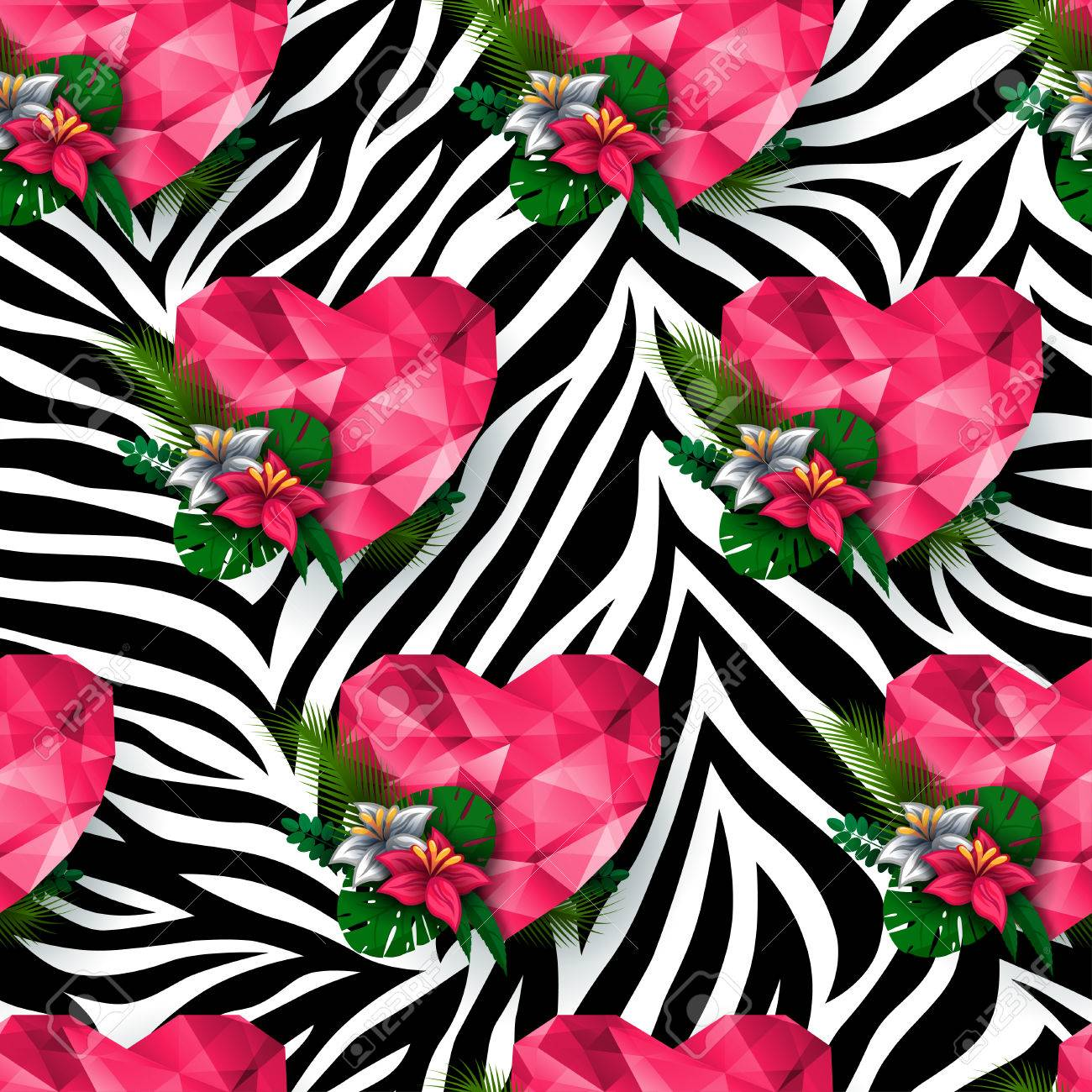 Image of: Vector Animal Print Zebra Texture Polygonal Hearts And Flowers Endless Texture Can Be Used 123rfcom Animal Print Zebra Texture Polygonal Hearts And Flowers Endless
