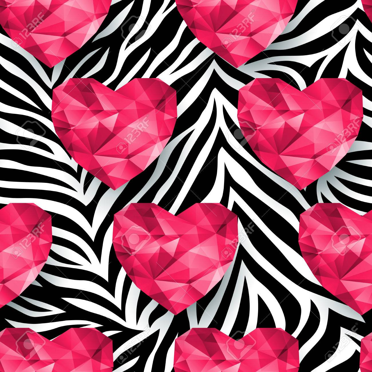 Image of: Printable Animal Print Zebra Texture Polygonal Hearts Endless Texture Can Be Used For Printing 123rfcom Animal Print Zebra Texture Polygonal Hearts Endless Texture