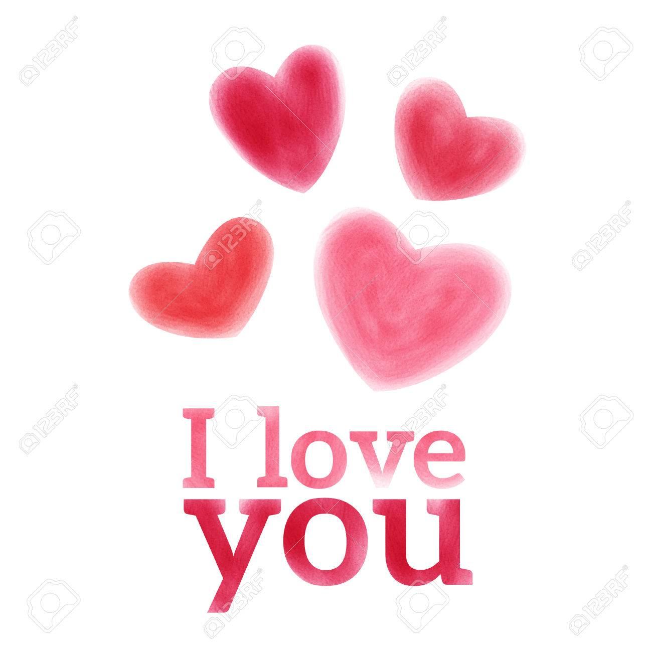 Taches Vecteur D Aquarelle Saint Valentin Carte De Voeux Déclaration D Amour Clip Art Libres De Droits Vecteurs Et Illustration Image 32212361