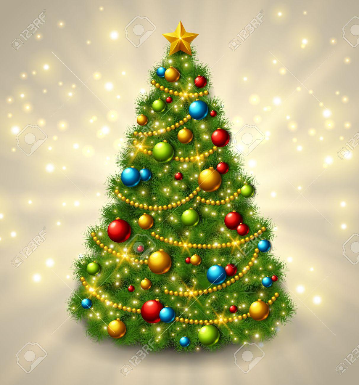 Rbol De Navidad Con Adornos De Colores Y Estrellas De Oro En La