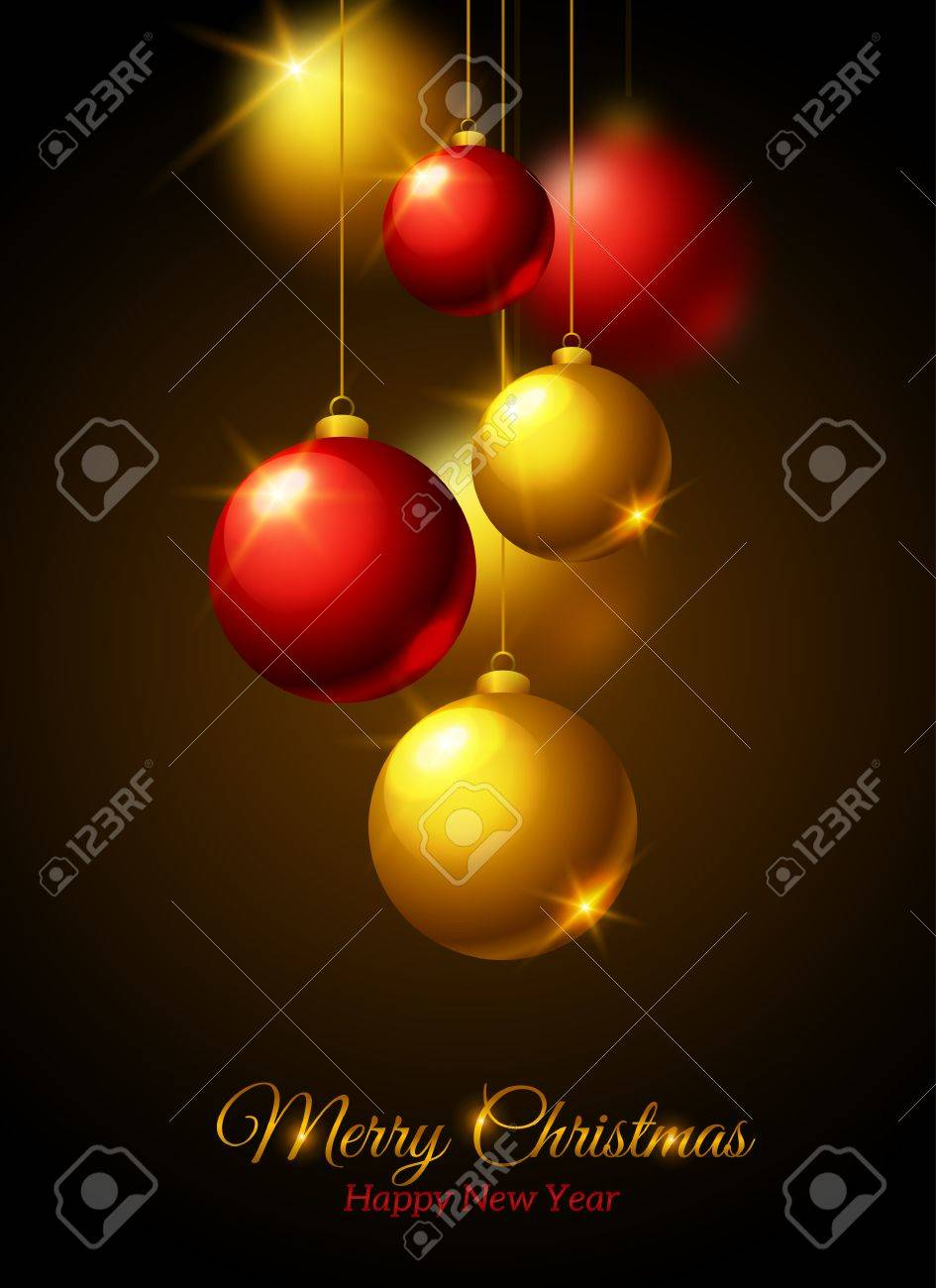 Merry Christmas And Happy New Year Greeting Card Gold And Red
