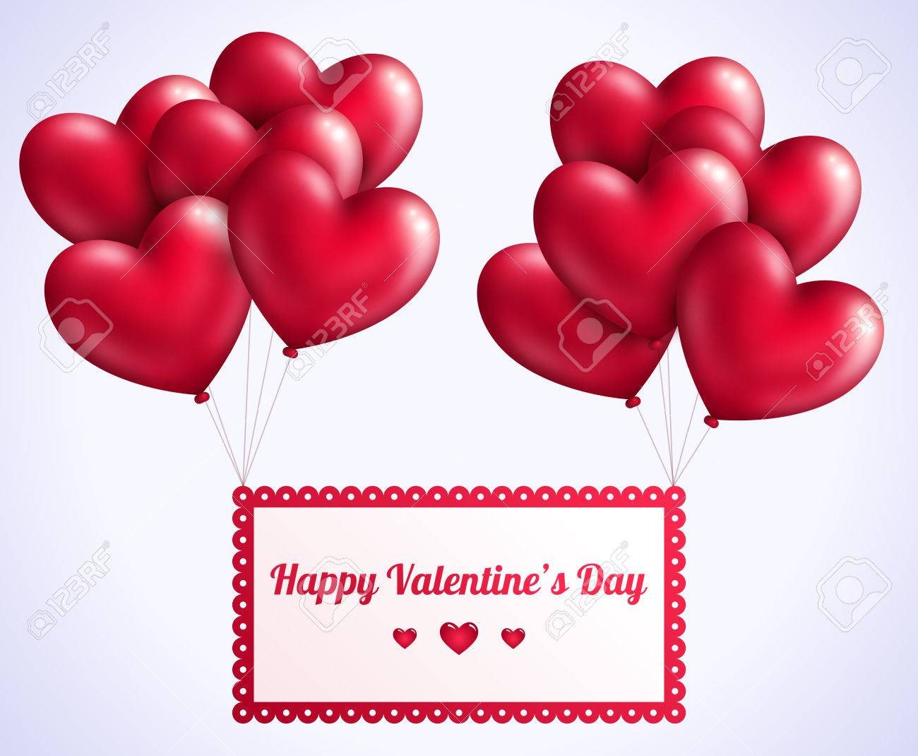 Valentines Day Background With Red Flying Hearts Balloons Vector