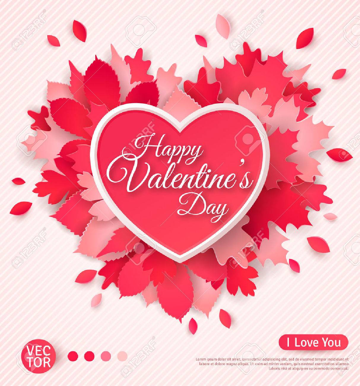 Beautiful Greeting Card With Heart And Leaves Happy Valentines – Valentine Greetings Card
