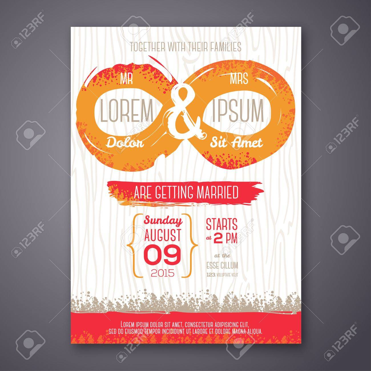 Wedding invitation card with grunge endless symbol vector vector wedding invitation card with grunge endless symbol vector illustration endless love painted design elements stopboris Images