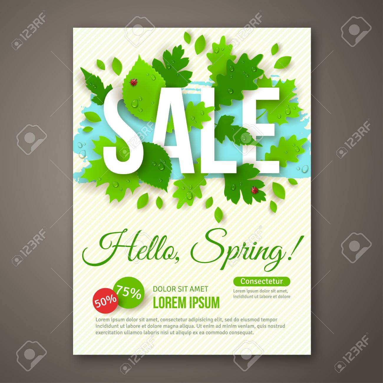 Spring Sale Flyer Design With Green Leaves Vector Illustration – Sale Flyer Design