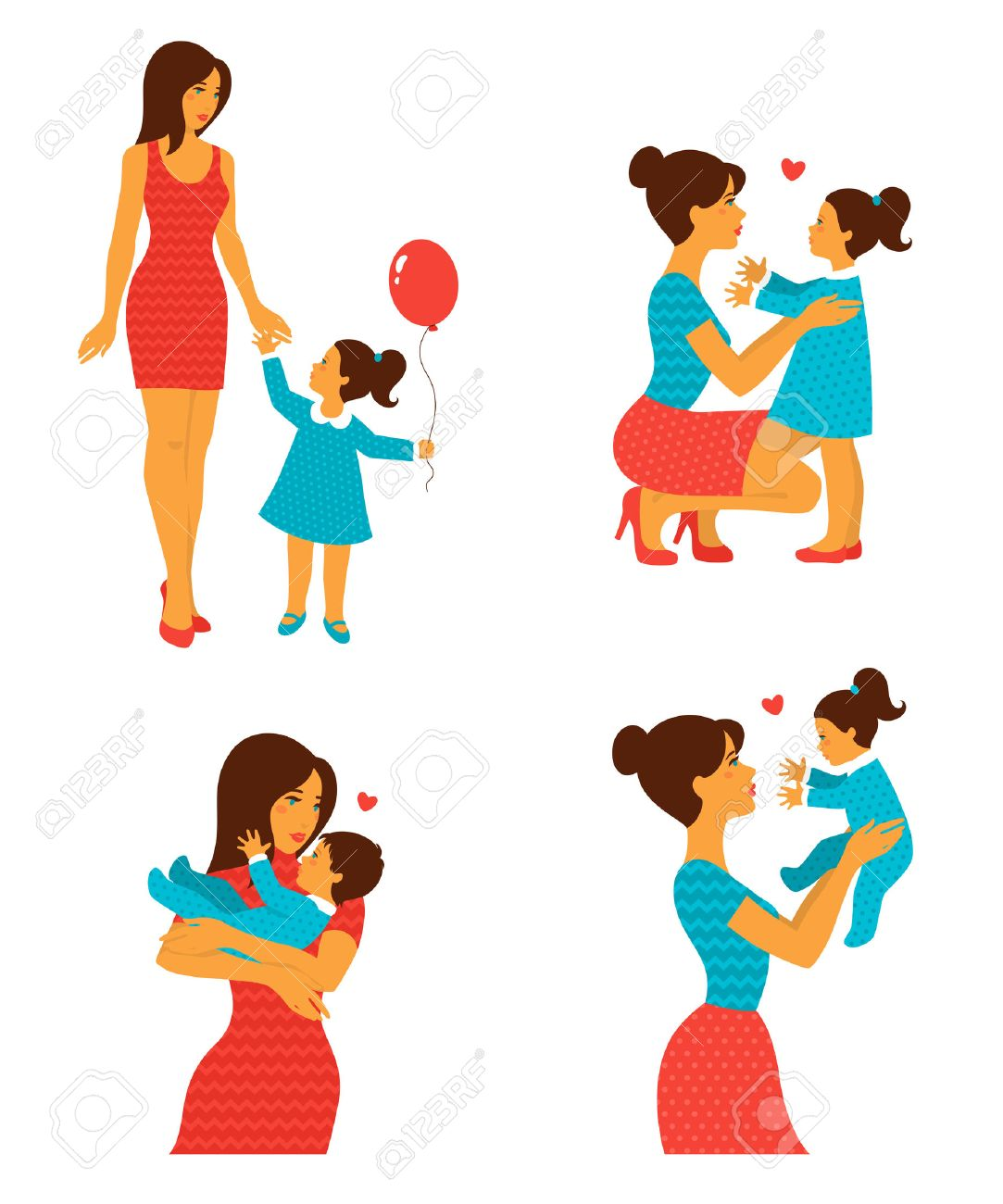 Happy cheerful family  Vector illustration  Mother and baby laughing
