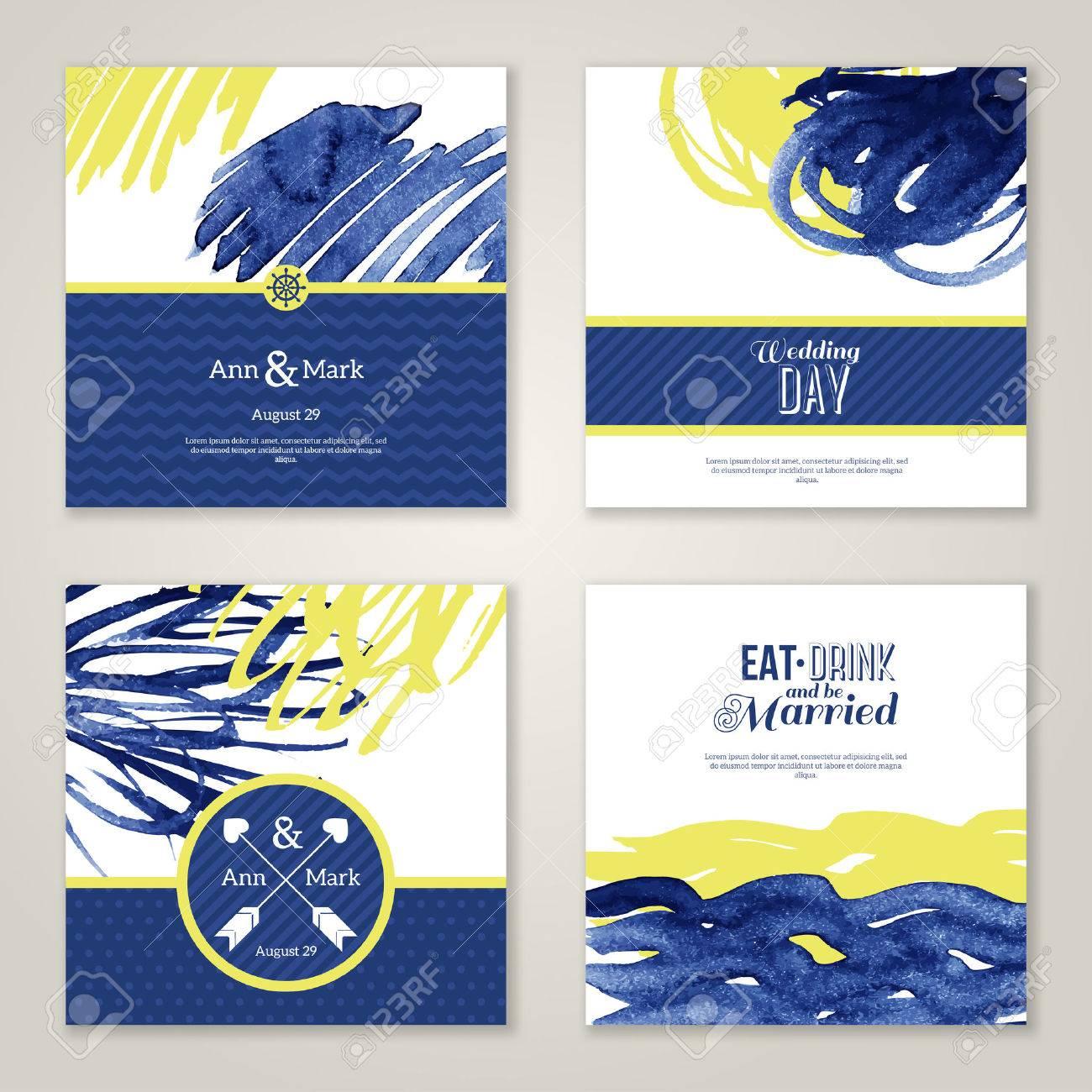 Set of watercolor romantic wedding invitations. Vector illustration. Hand drawn design elements in marine
