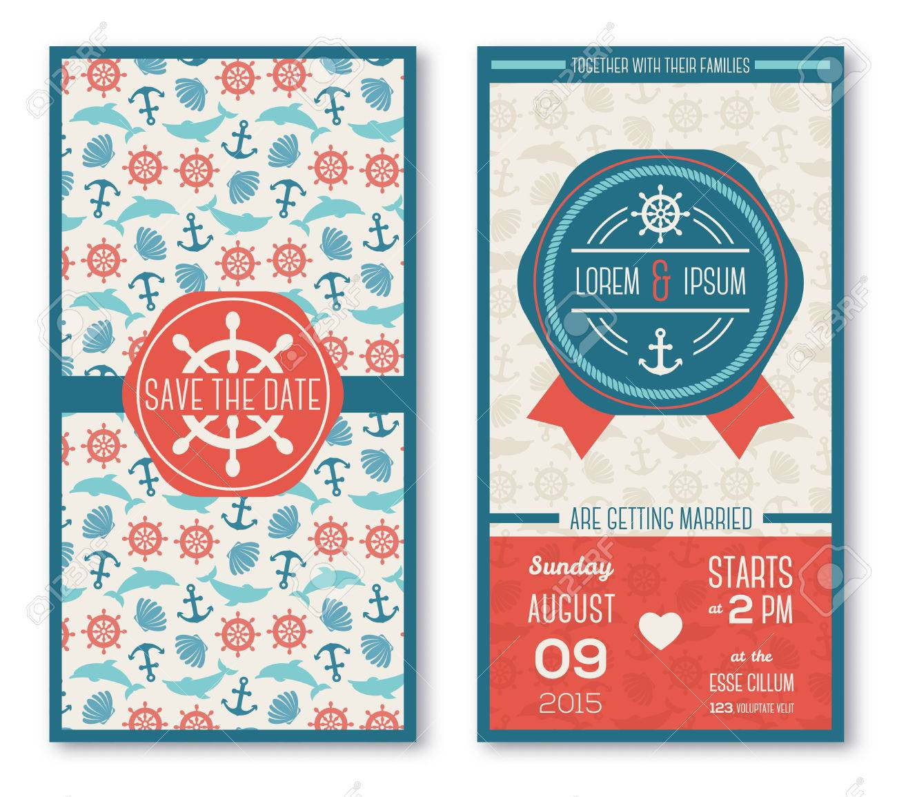 Set Of Romantic Wedding Invitations In Marine Style. Vector ...