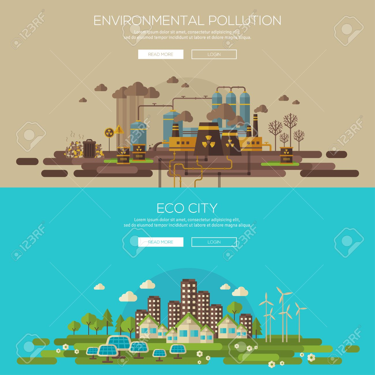 Green eco city with sustainable architecture and environmental pollution by factory toxic waste. Vector illustration banners set. Web banner and promotional material concept. Eco Technology. - 40270648