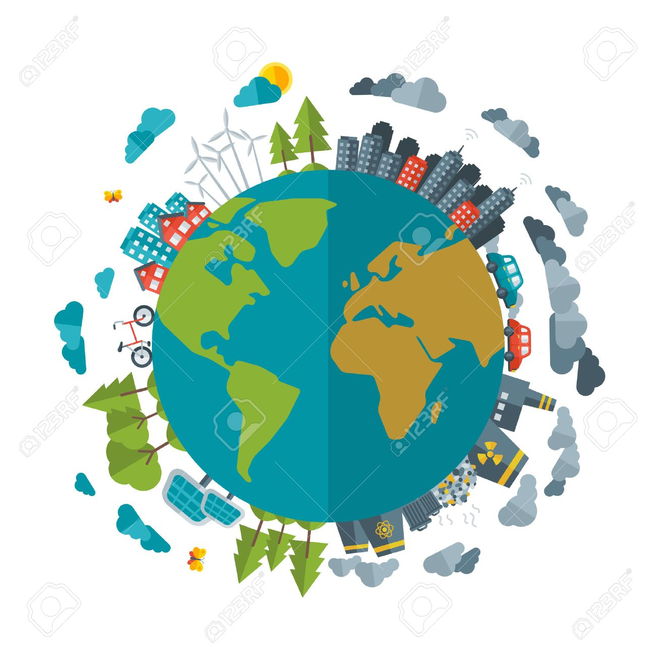 Eco Friendly, green energy concept, vector flat illustration. Solar energy town, wind energy. Dirty city, factories, air pollution, landfill. Atomic plants. Save the planet concept. Earth Day. - 40655772
