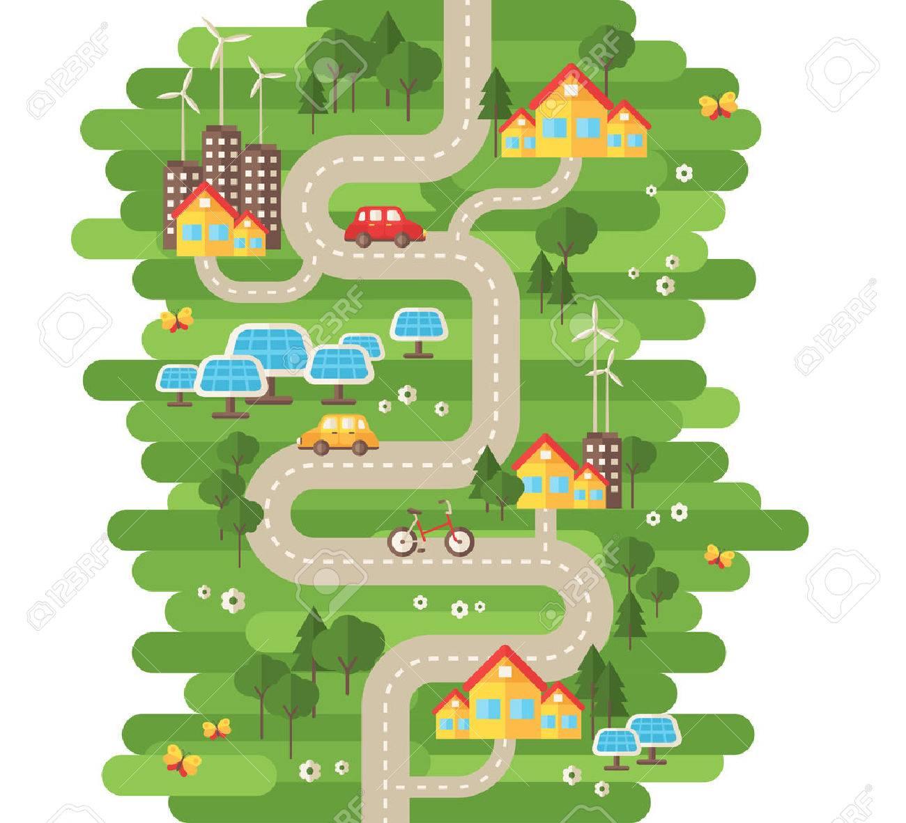 Flat Design Vector Illustration Concept Of Ecology Landscape