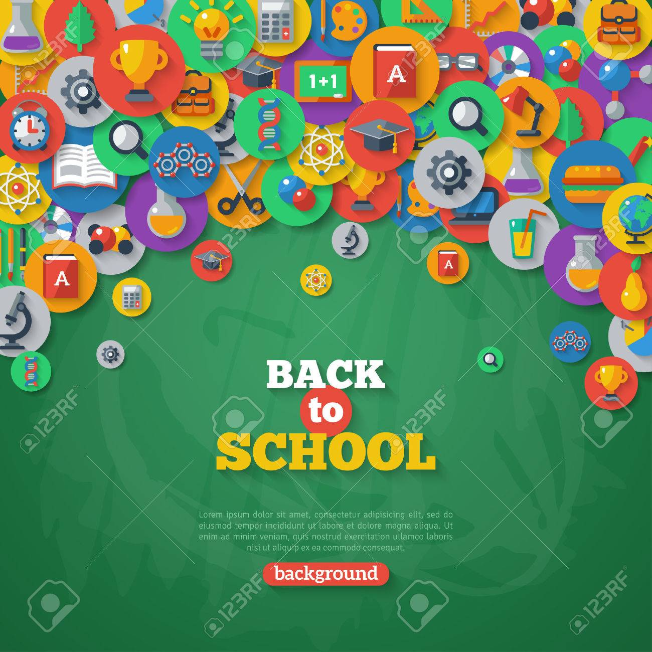 back to school background vector illustration flat school icons