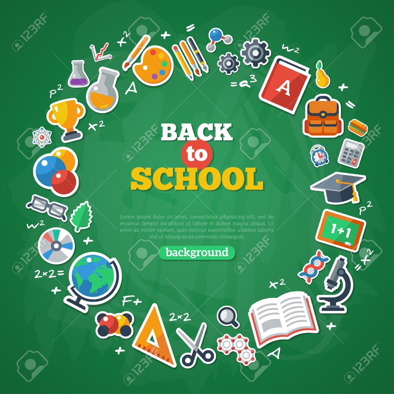 Back To School Frame Vector Illustration Flat School Icons