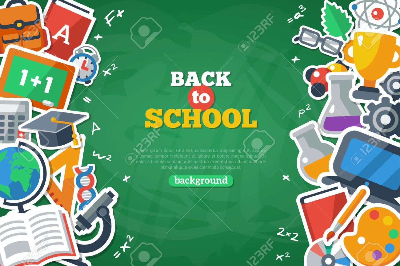 back to school banner with flat icon set on chalkboard textured