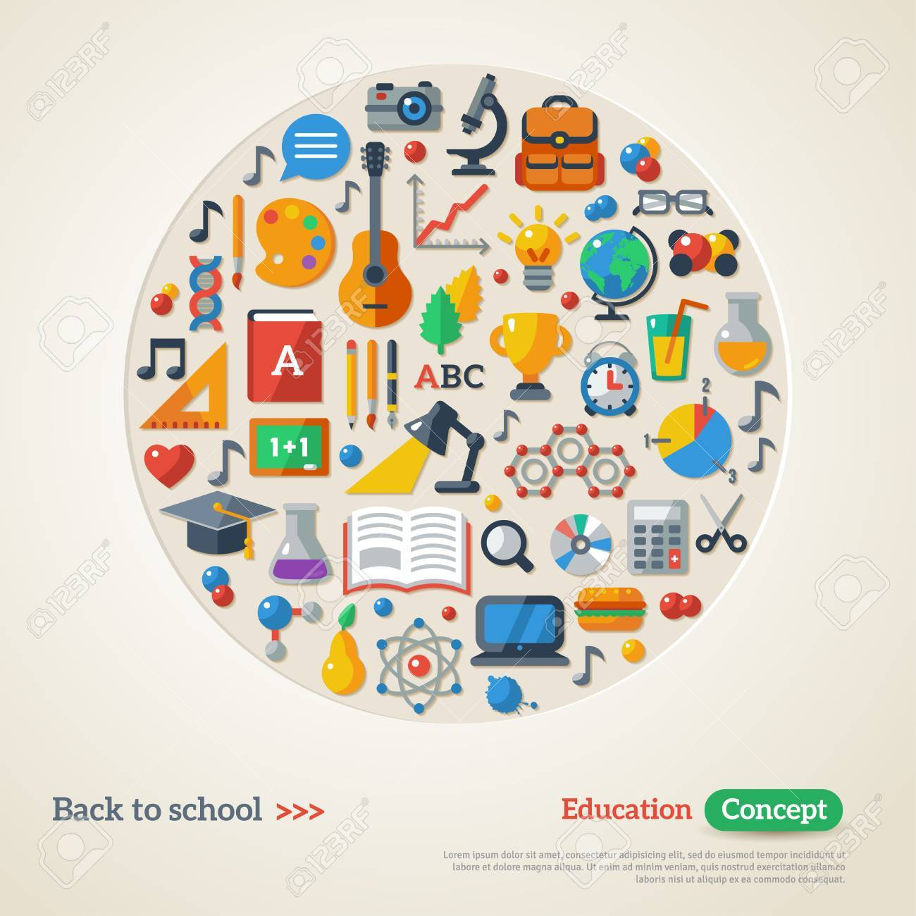 Back to school background. Vector Illustration. Education concept. Flat Icon Set. Concept of the high school object with teaching and learning symbols. - 42610466