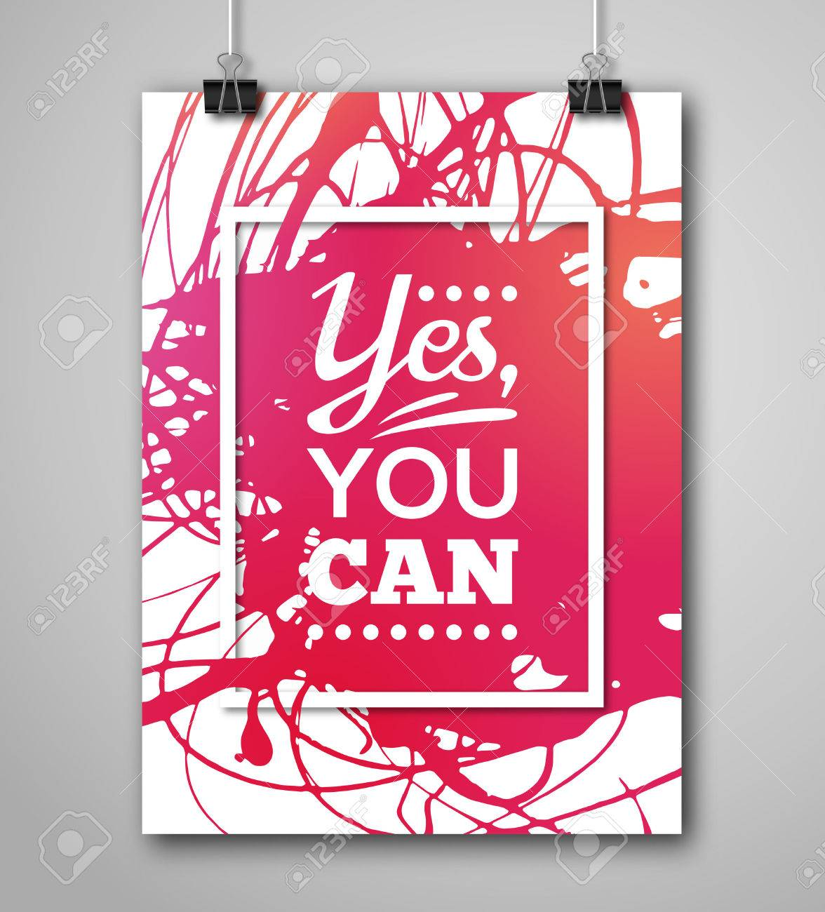Motivational Poster Square Frame With Paint Splash Text Lettering