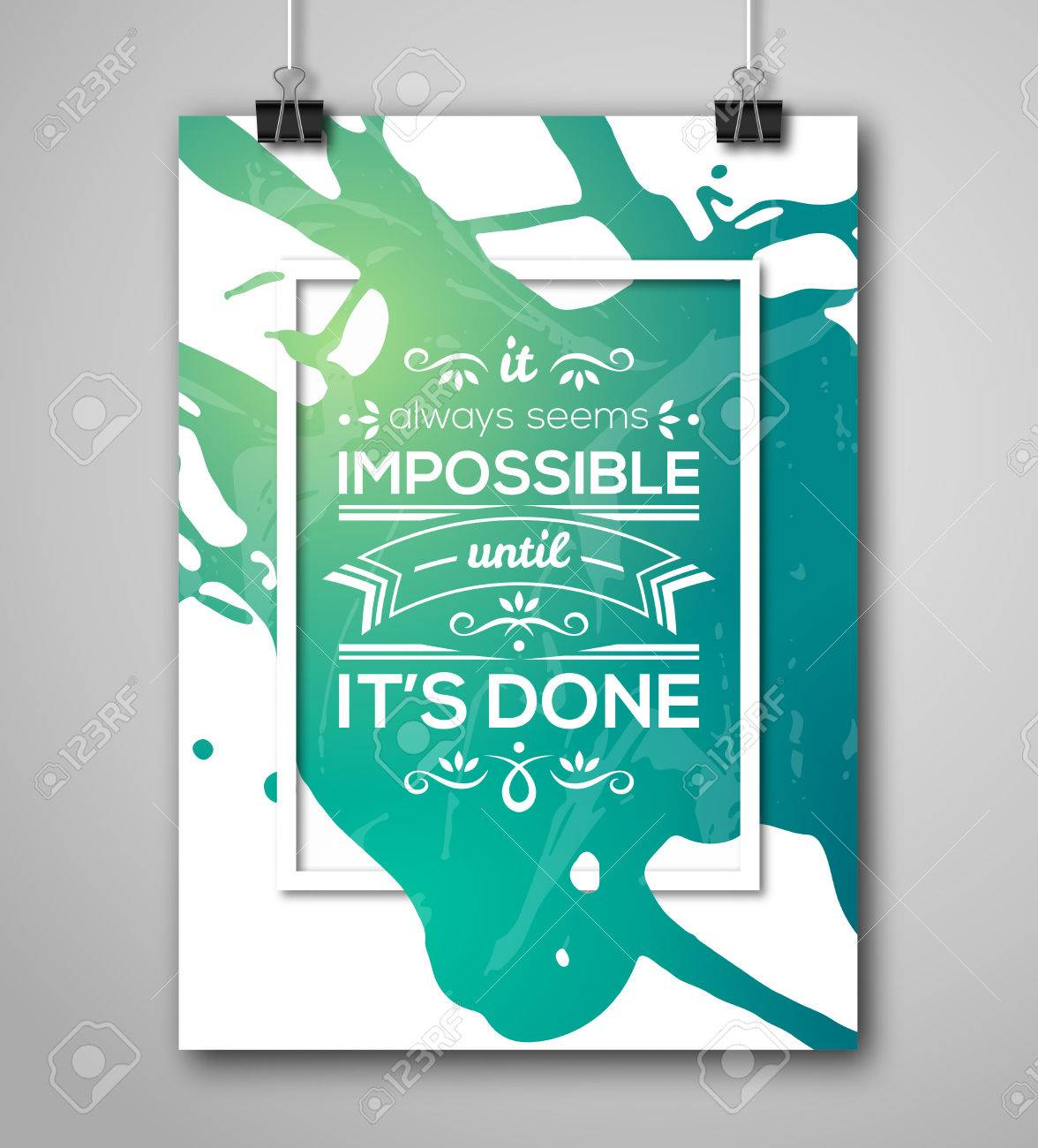 motivational poster square frame with paint splash text lettering inspirational saying about strength