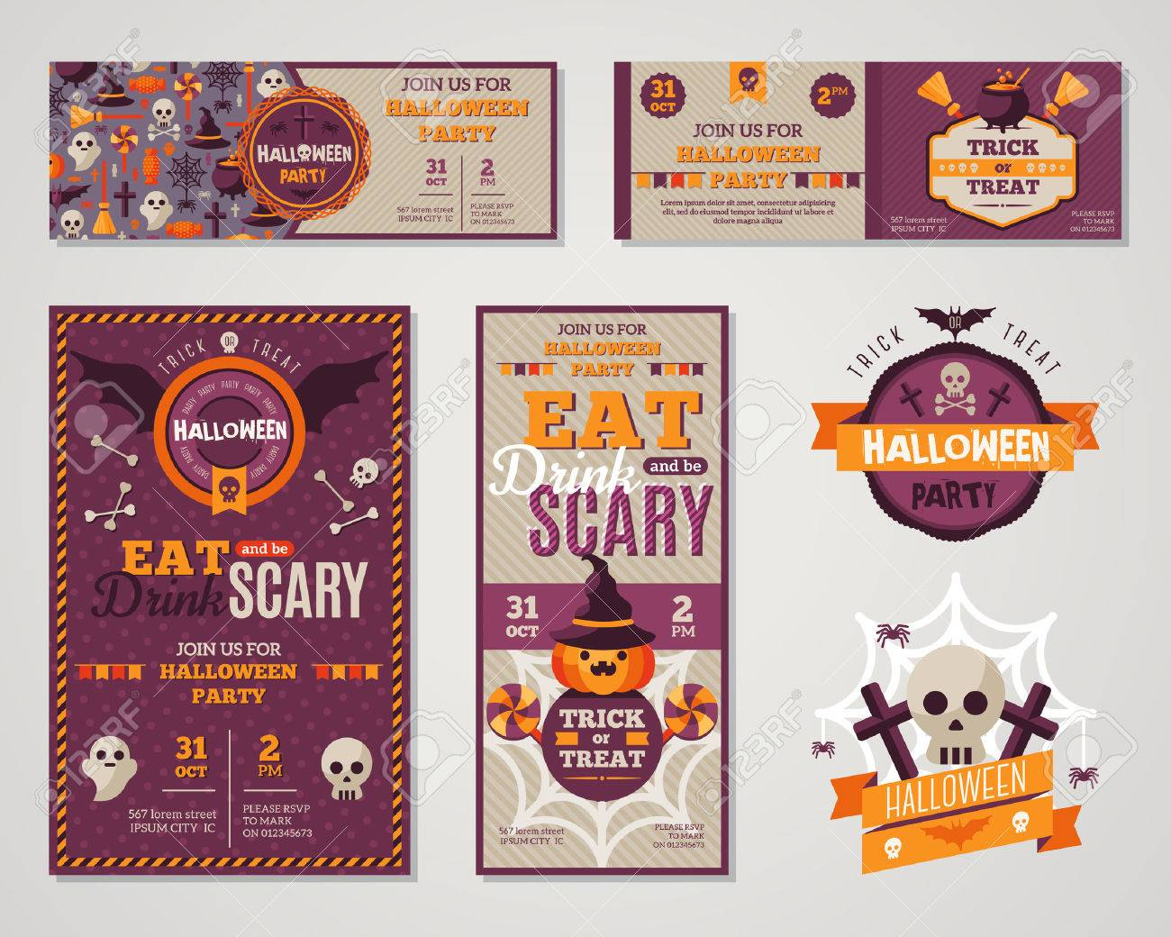 Set of happy halloween greeting cards or flyers vector set of happy halloween greeting cards or flyers vector illustration party invitation design with kristyandbryce Images