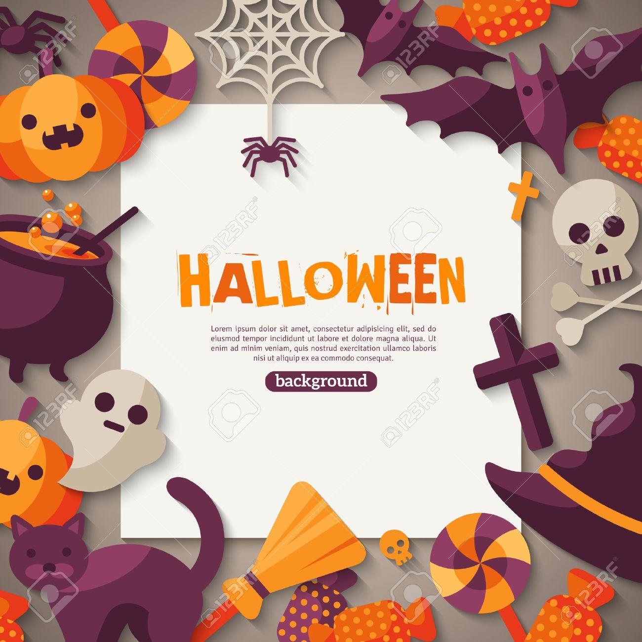 Halloween-Hintergrund. Vektor-Illustration. Wohnung Halloween Icons ...