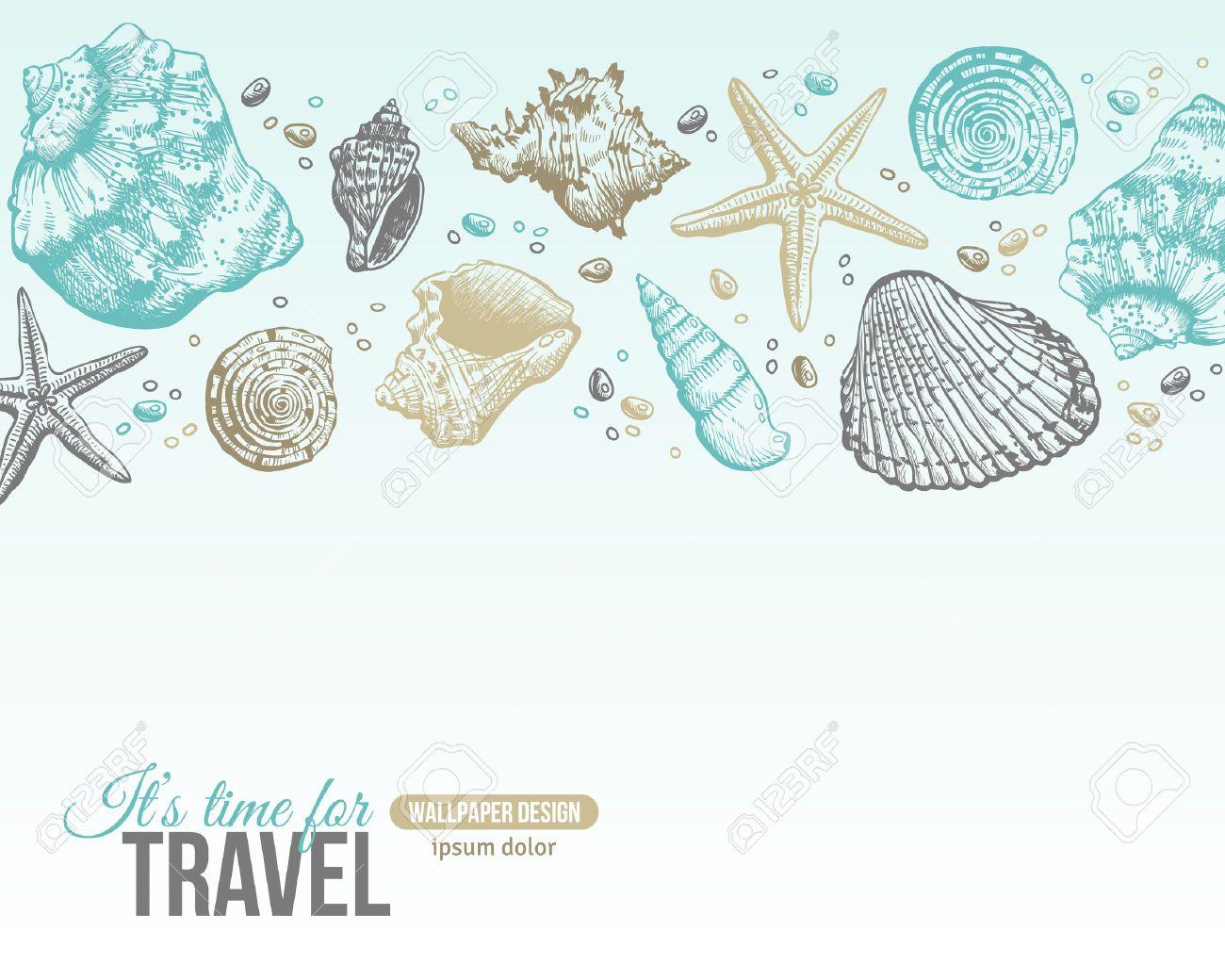 Shells Verano Postal Diseño. Vector De Fondo Con Conchas De Mar ...