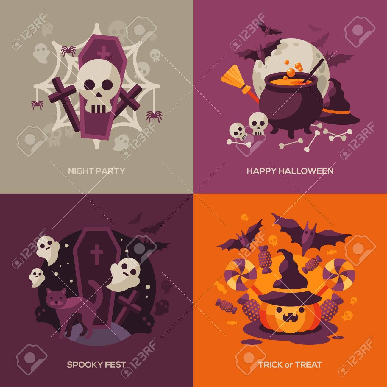 Set Halloween-Konzepte. Vektor-Illustration. Orange Kürbis Und ...