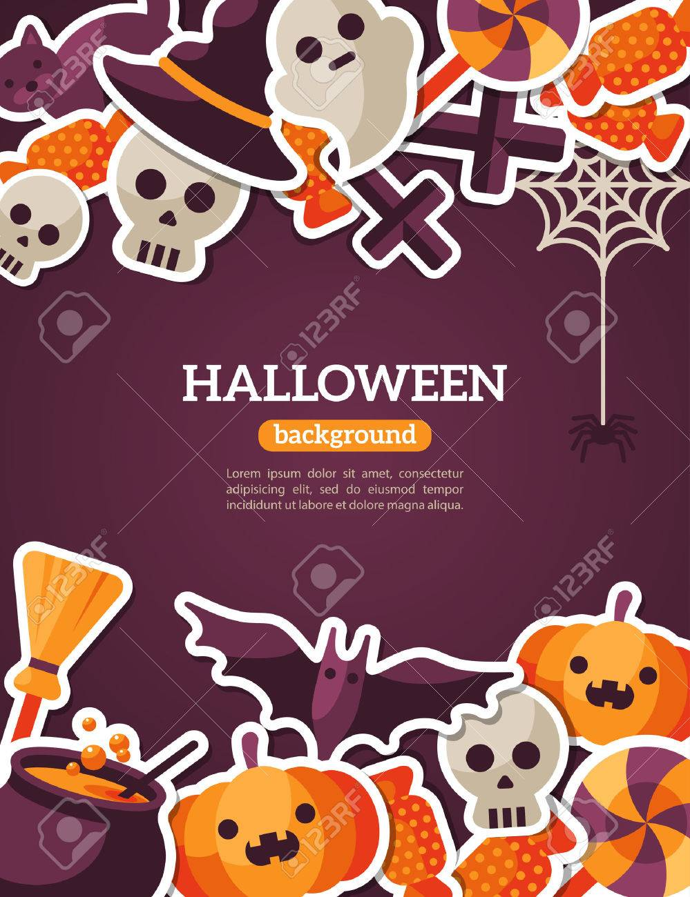 Halloween Concept Banner With Flat Icon Set on Dark Violet Backdrop. Vector Flat Illustration. Halloween Signs and Symbols. Trick or Treat. - 43321750