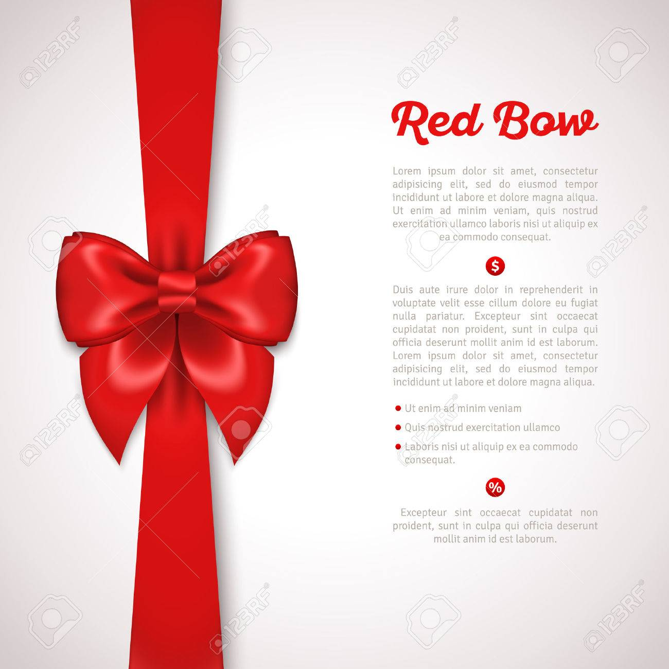 Red Ribbon with Satin Bow Isolated on White. Vector Illustration. Invitation Decorative Card Template, Voucher Design, Holiday Invitation Design. - 44249327