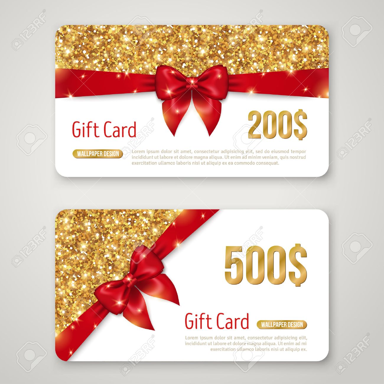 Gift Card Design With Gold Glitter Texture And Red Bow Invitation