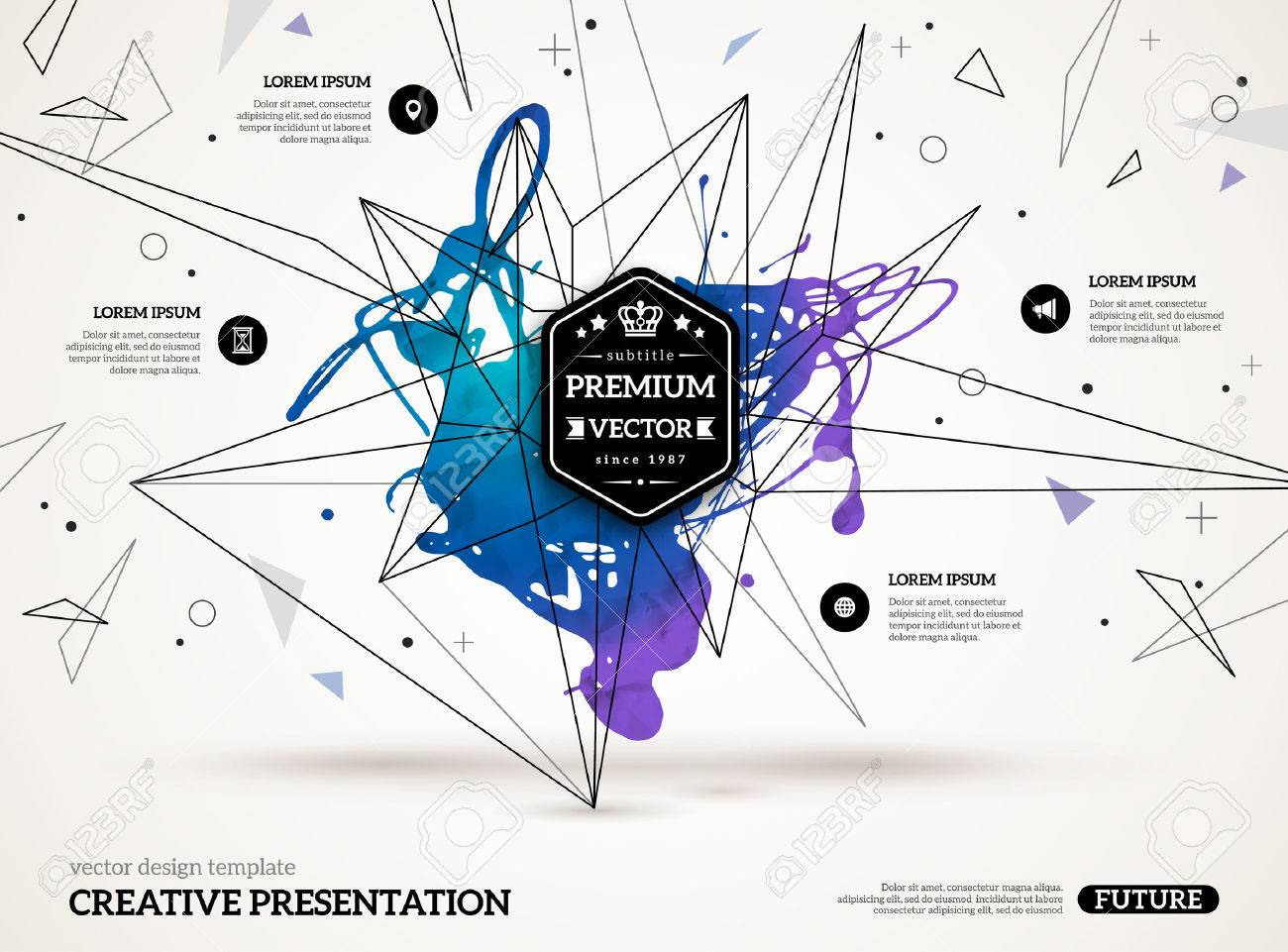 3D abstract background with paint stain and geometric shapes. Vector design layout for business presentations, flyers, posters. Scientific future technology background. Stock Vector - 44928785