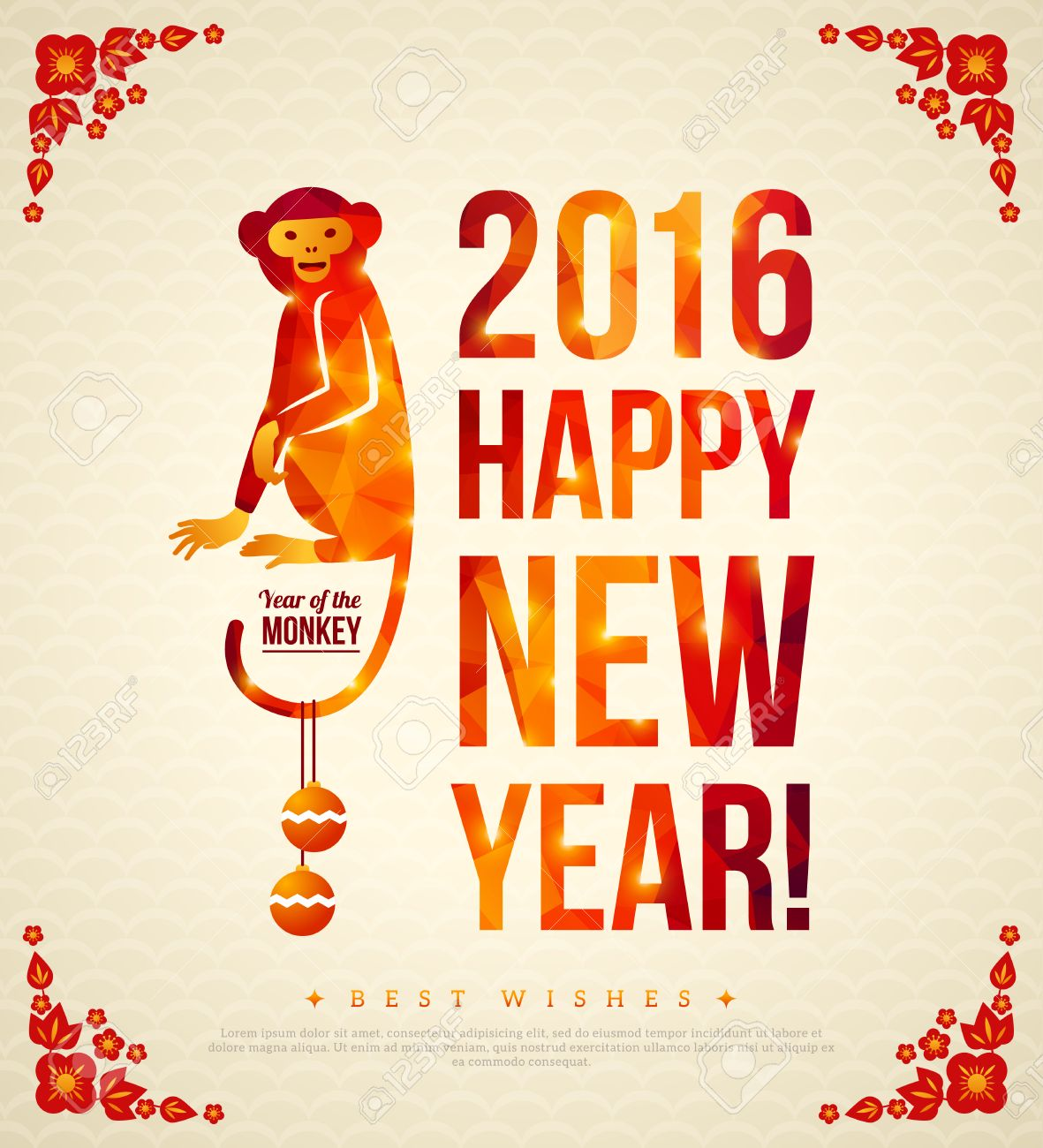 Happy chinese new year 2016 greeting card vector illustration happy chinese new year 2016 greeting card vector illustration year of the monkey kristyandbryce Choice Image