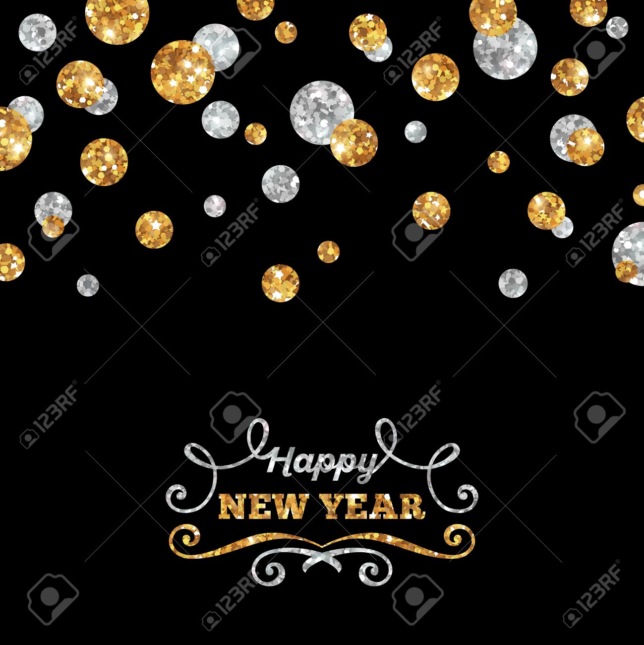 Happy New Year Greeting Card With Shining Gold And Silver Dots