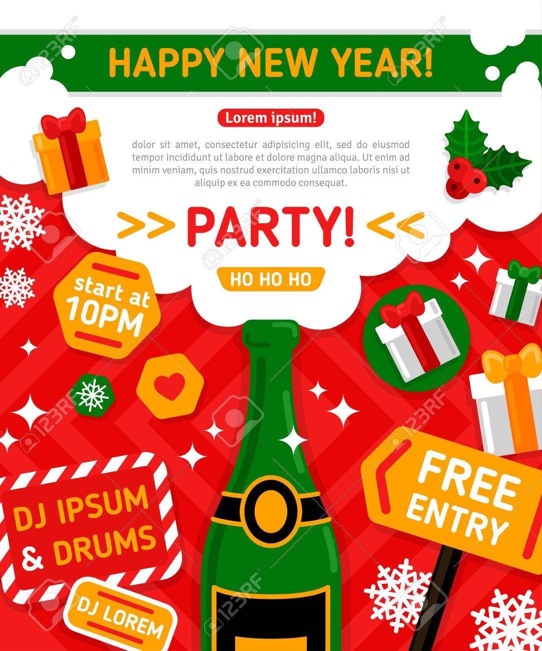 merry christmas and happy new year party invitation card vector illustration champagne bottle with