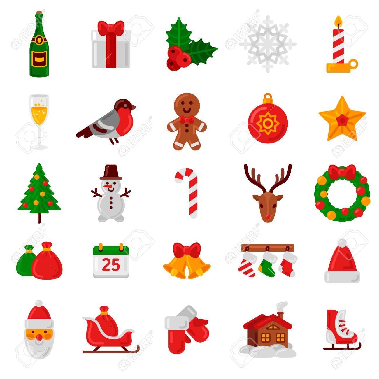 Christmas Set.Set Of Flat Christmas Icons Vector Illustration Holiday Signs