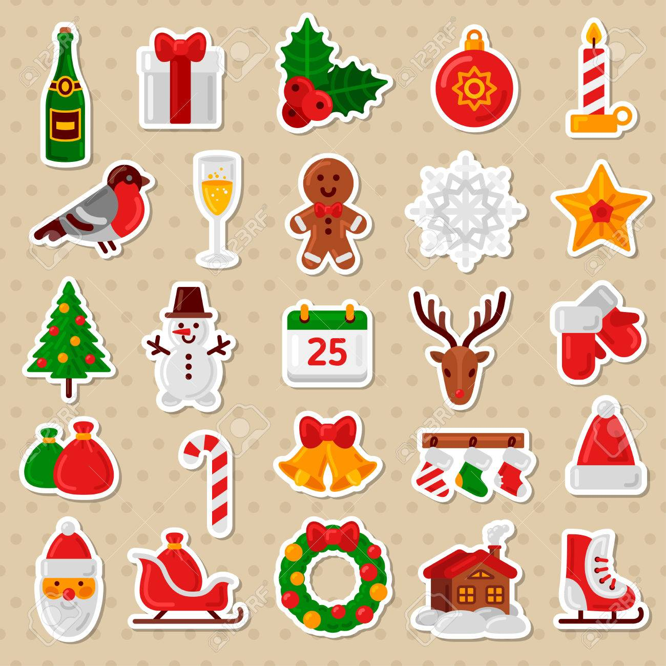 Candy Cane Christmas Tree.Merry Christmas Flat Icons Vector Illustration Happy New Year