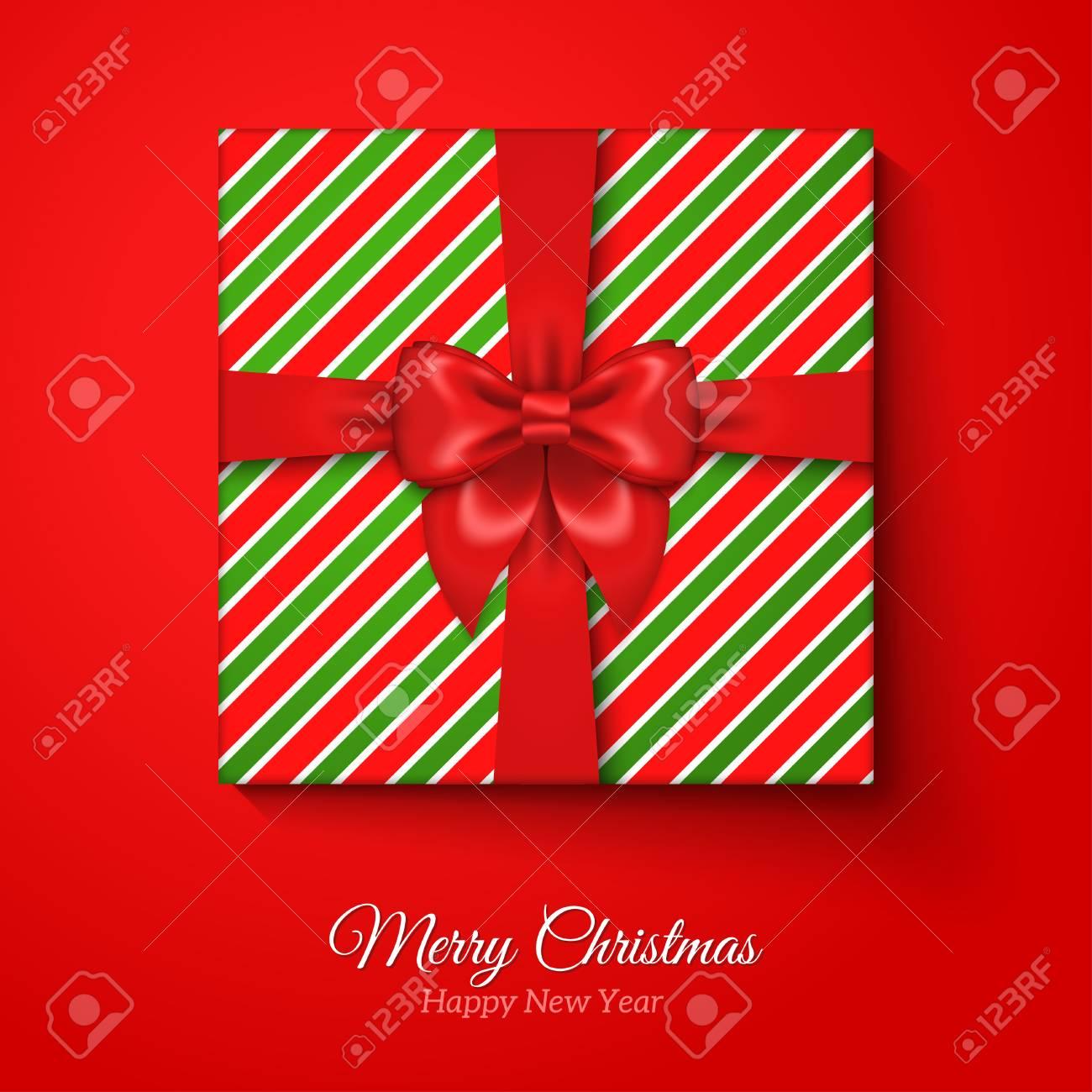 Merry Christmas Greeting Card With Christmas Gift Box Res Silk