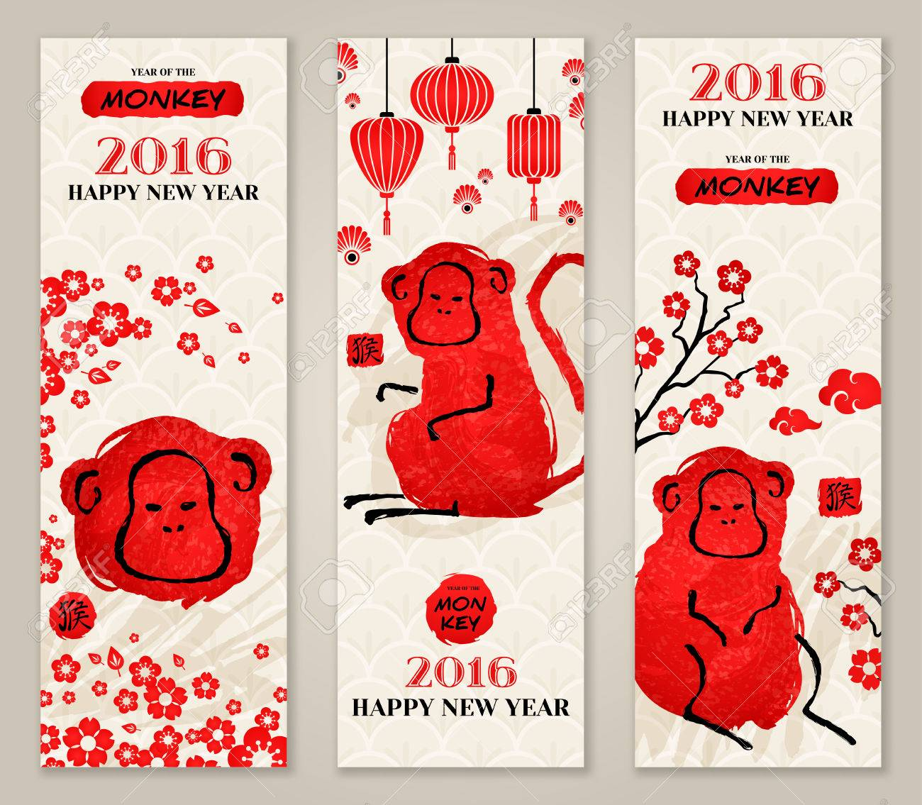 vertical banners set with hand drawn chinese new year monkeys vector illustration hieroglyph stamp - Chinese New Year Of The Monkey