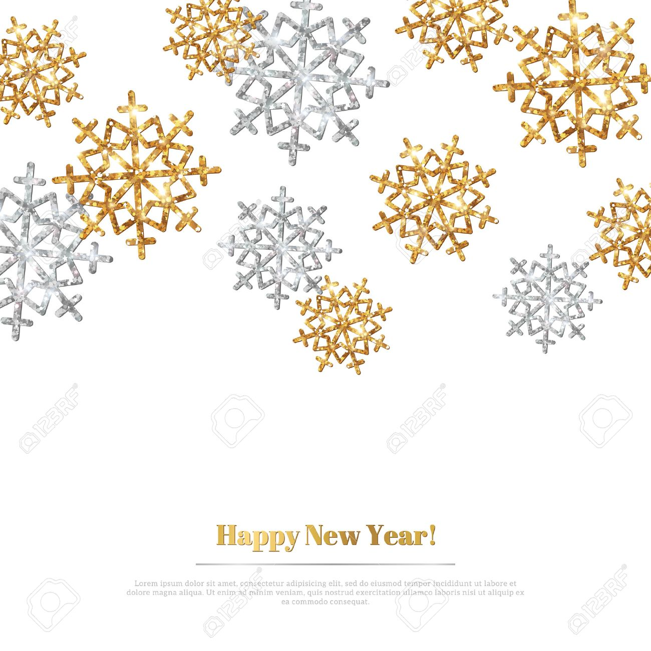 Merry christmas background with gold and silver snowflakes vector season greetings banner merry christmas background with gold and silver snowflakes vector illustration gold glitter texture kristyandbryce Choice Image