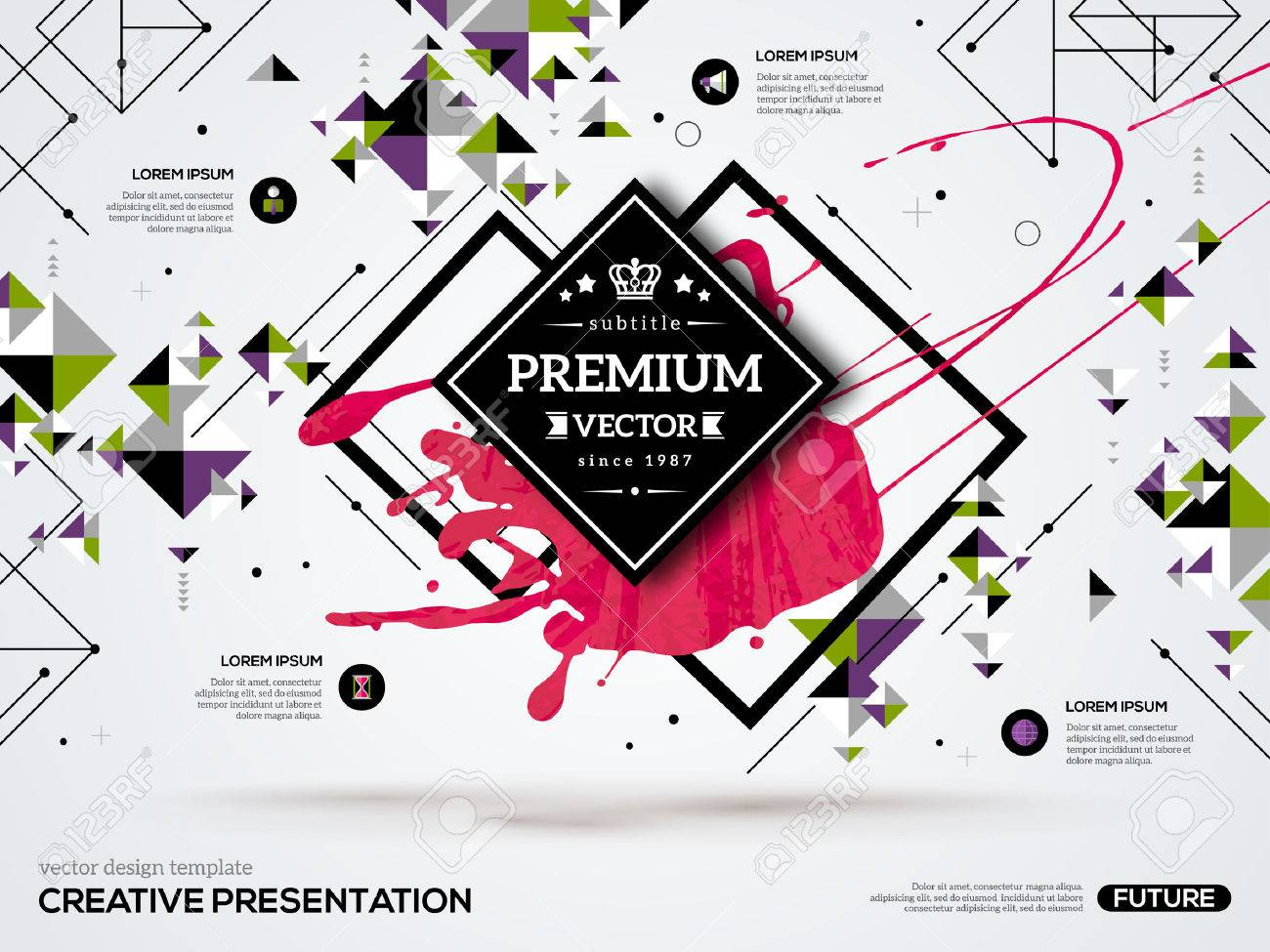 Poster design using 3d objects - Shape 3d Abstract Background With Paint Stain And Geometric Rhombus Shapes Vector Design Layout