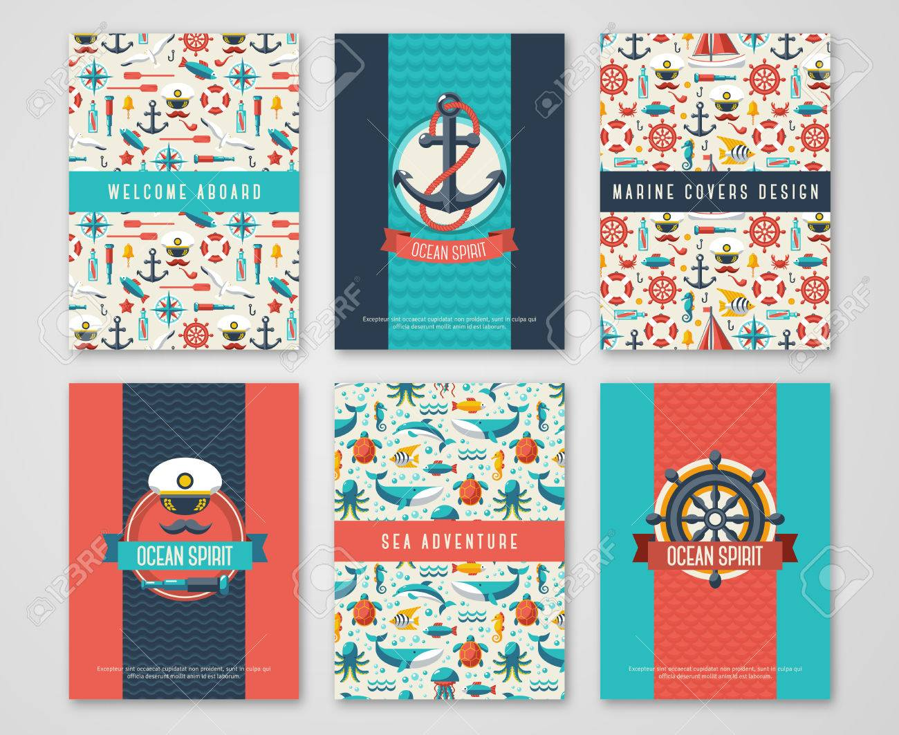 Set Of Nautical And Marine Banners And Flyers. Card Template ...