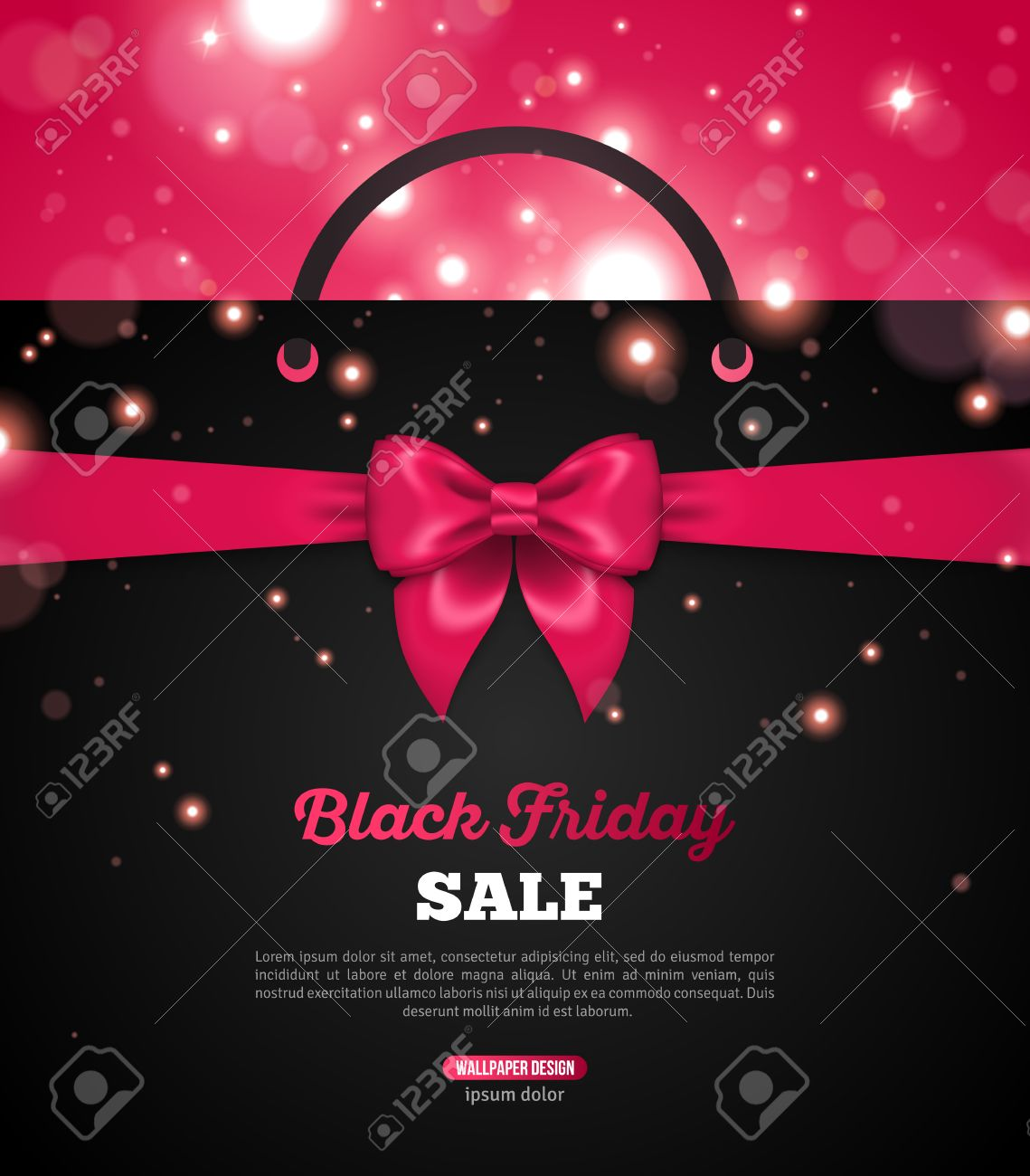 5287075c27 Shining Christmas Total Sale Background. Black Friday Creative Banner with Black  Shopping Bag and Pink Ribbon Bow. Vector Illustration.