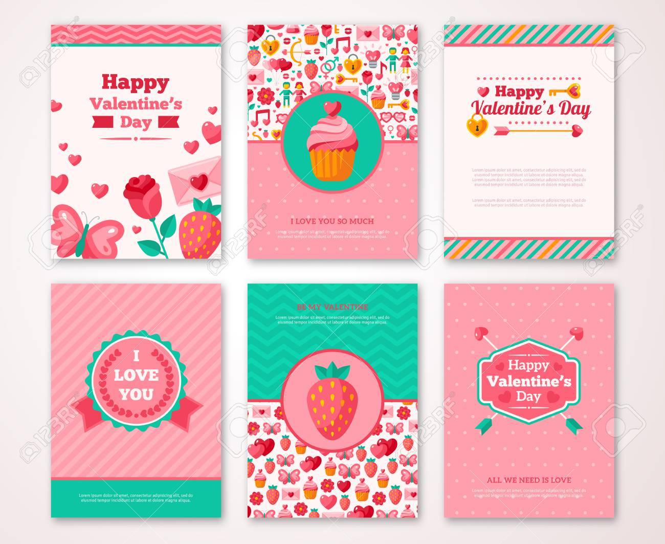 Labels With Valentines Signs Patterns. Party Invitation. Place ...