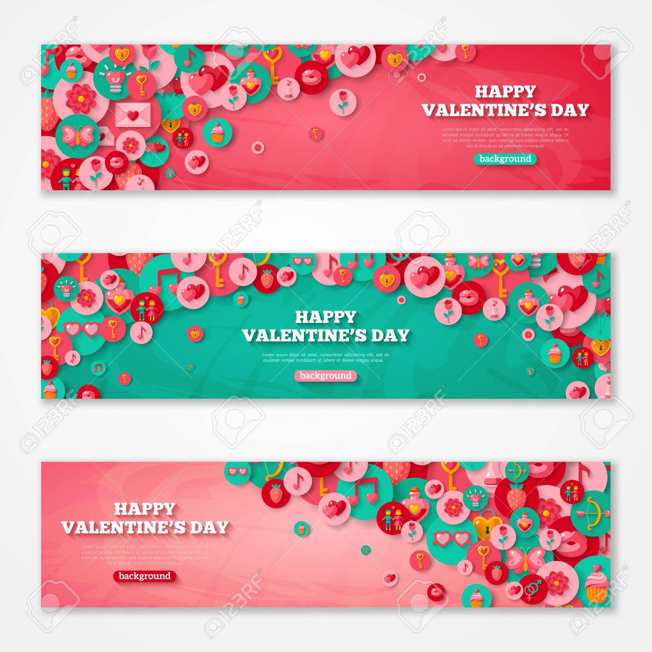 Valentines Horizontal Banners Set Flat Circle Icons. - 49611562