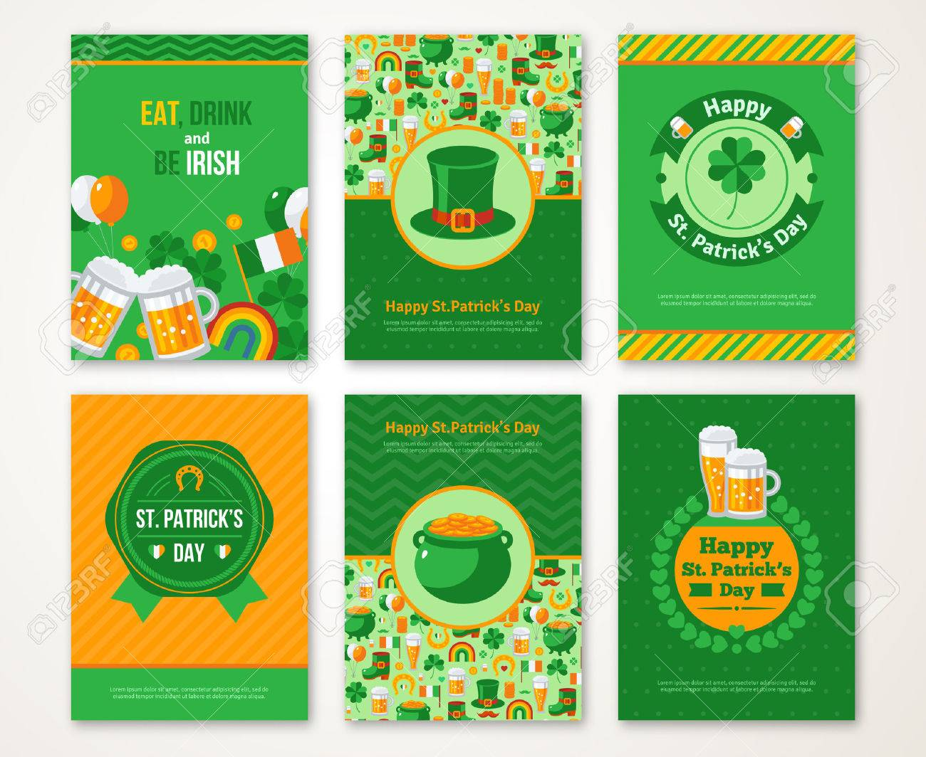 Set Of Happy St. Patrick\'s Day Greeting Card Or Flyer. Vector ...