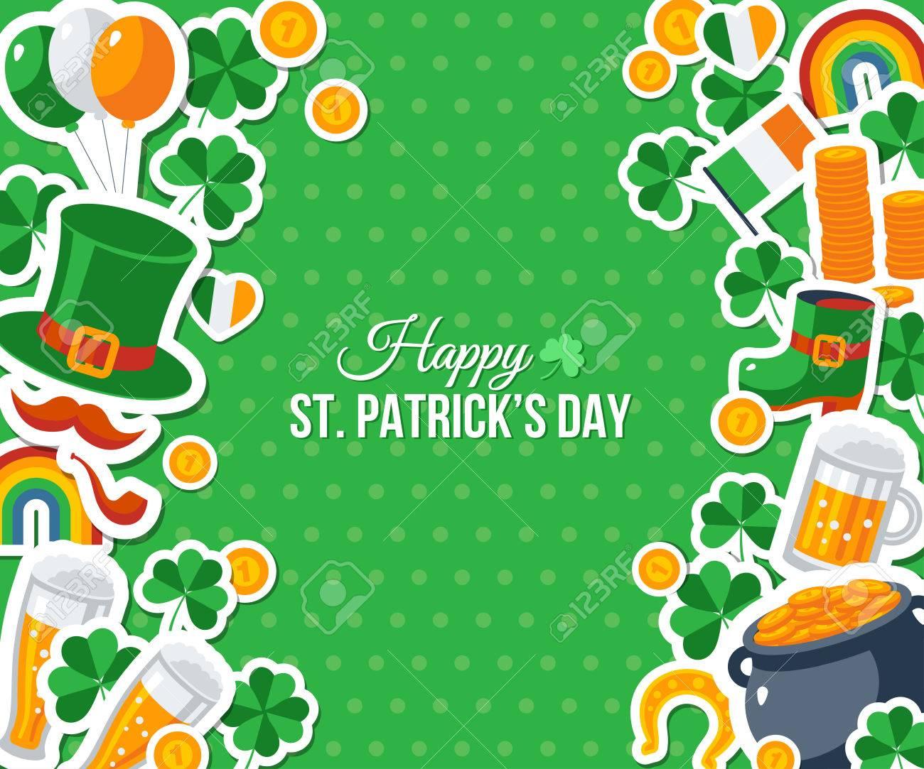 El Día De St Patrick Feliz, Banner O Folleto. Ilustración Del Vector ...