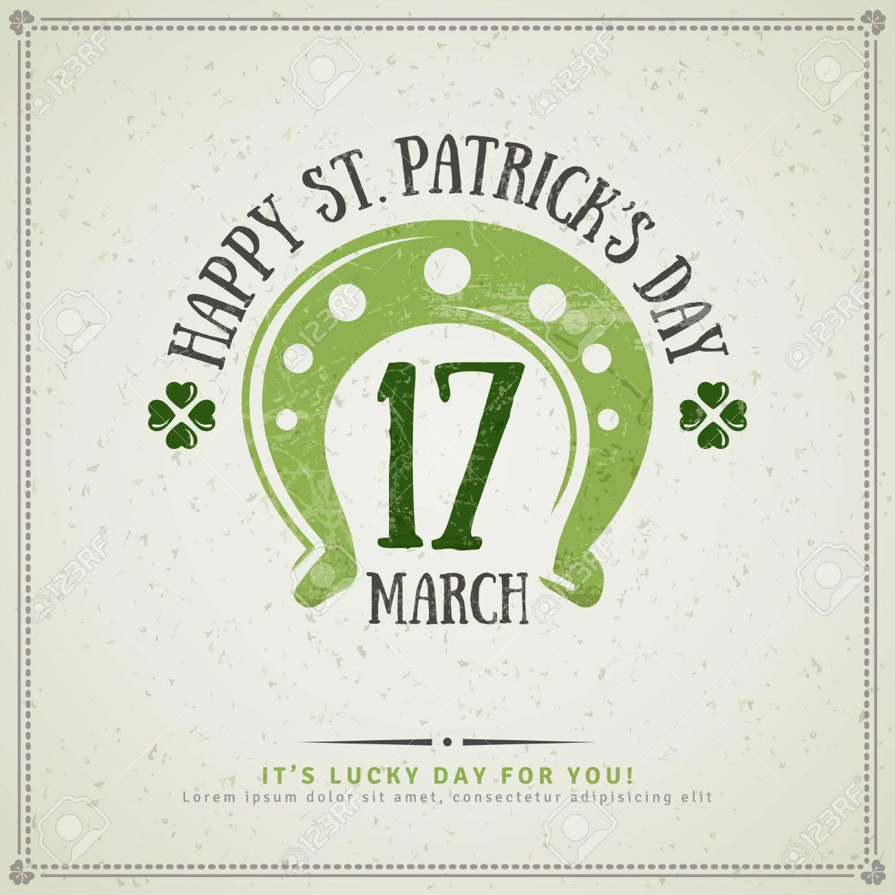 Glücklichen St Patrick Tagesgruß-Karte. Illustration. Partei ...