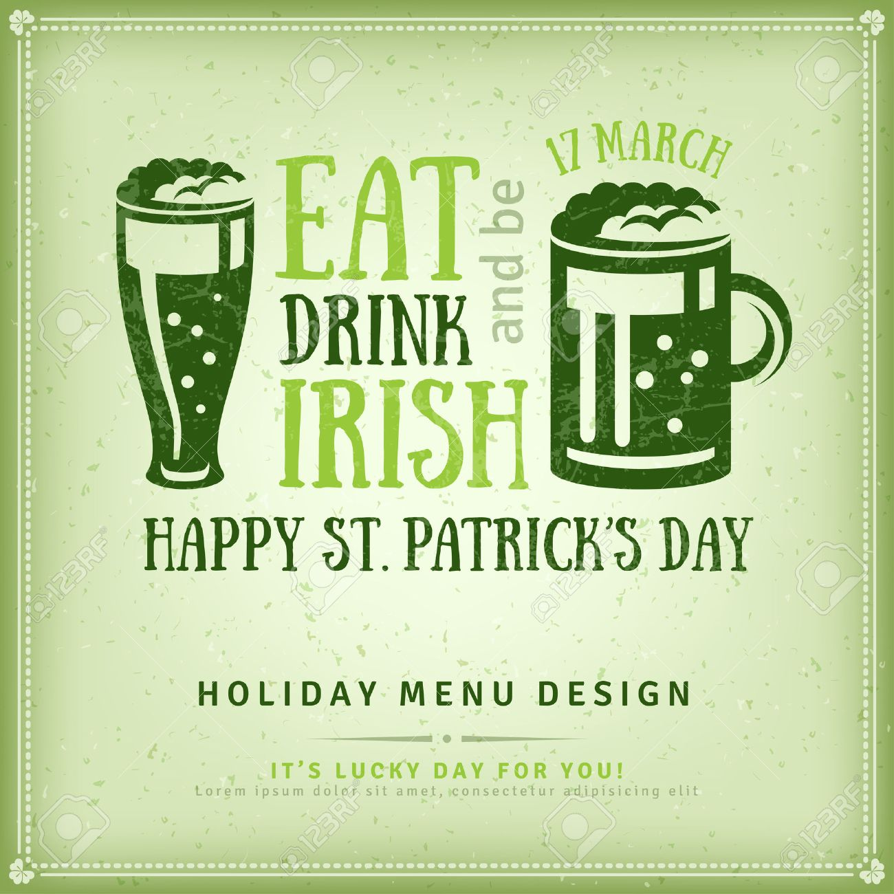 happy st patricks day greeting card illustration beer party invitation irish beer