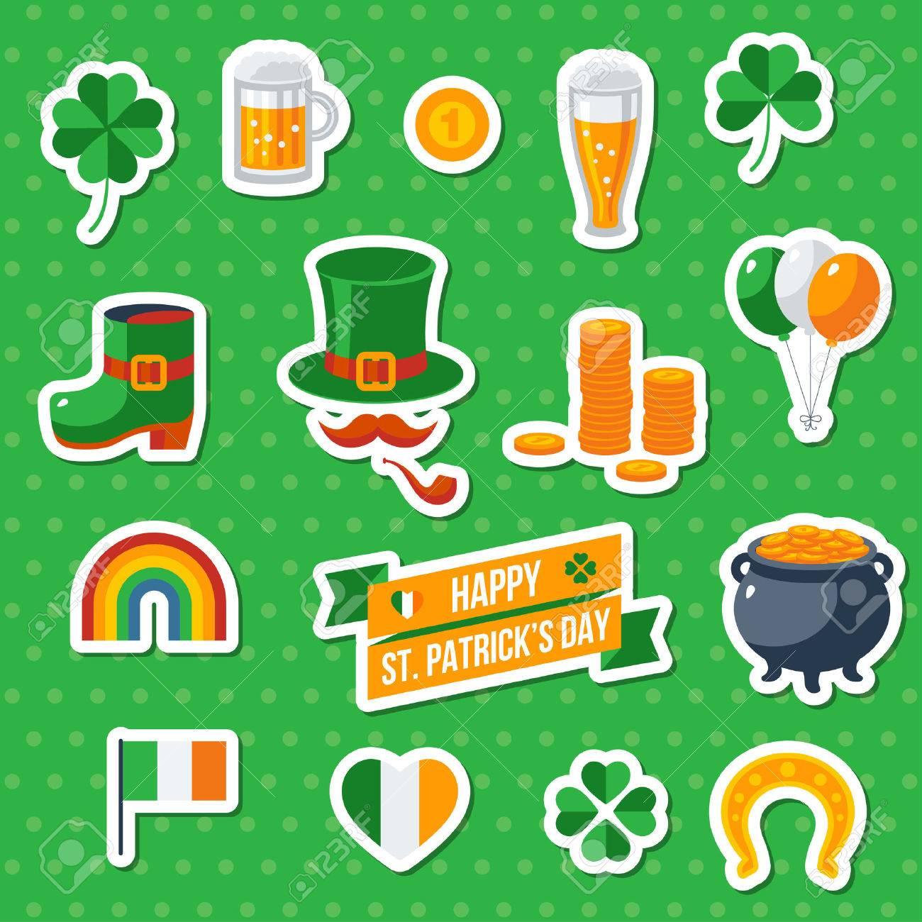 set of happy st patrick u0027s day flat icons illustration eat